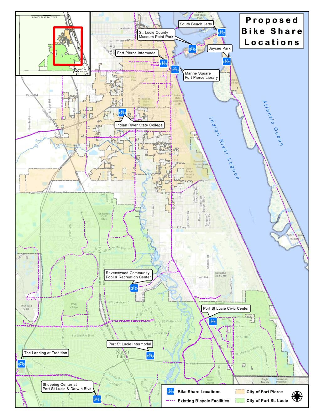 bike share. map gallery  st lucie county fl