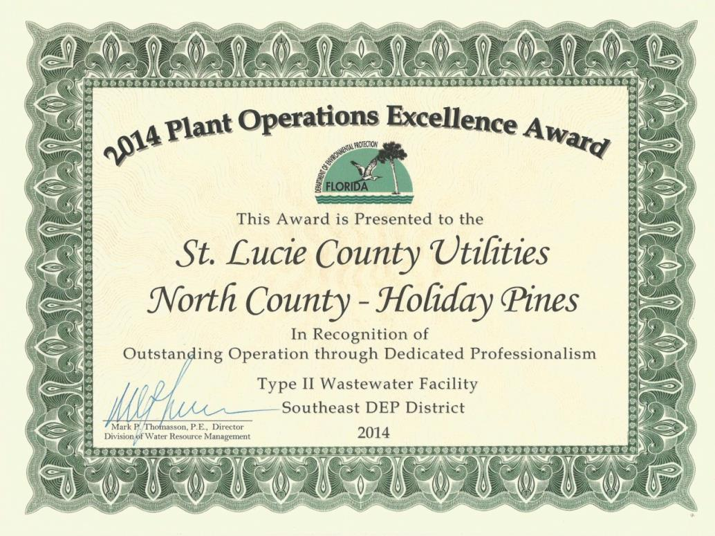 2014 Plant Operation Excellence Award - Holiday Pines WWTP