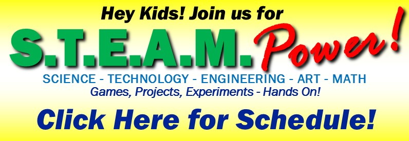Library programs related to STEAM, science, technology, engineering, art and math