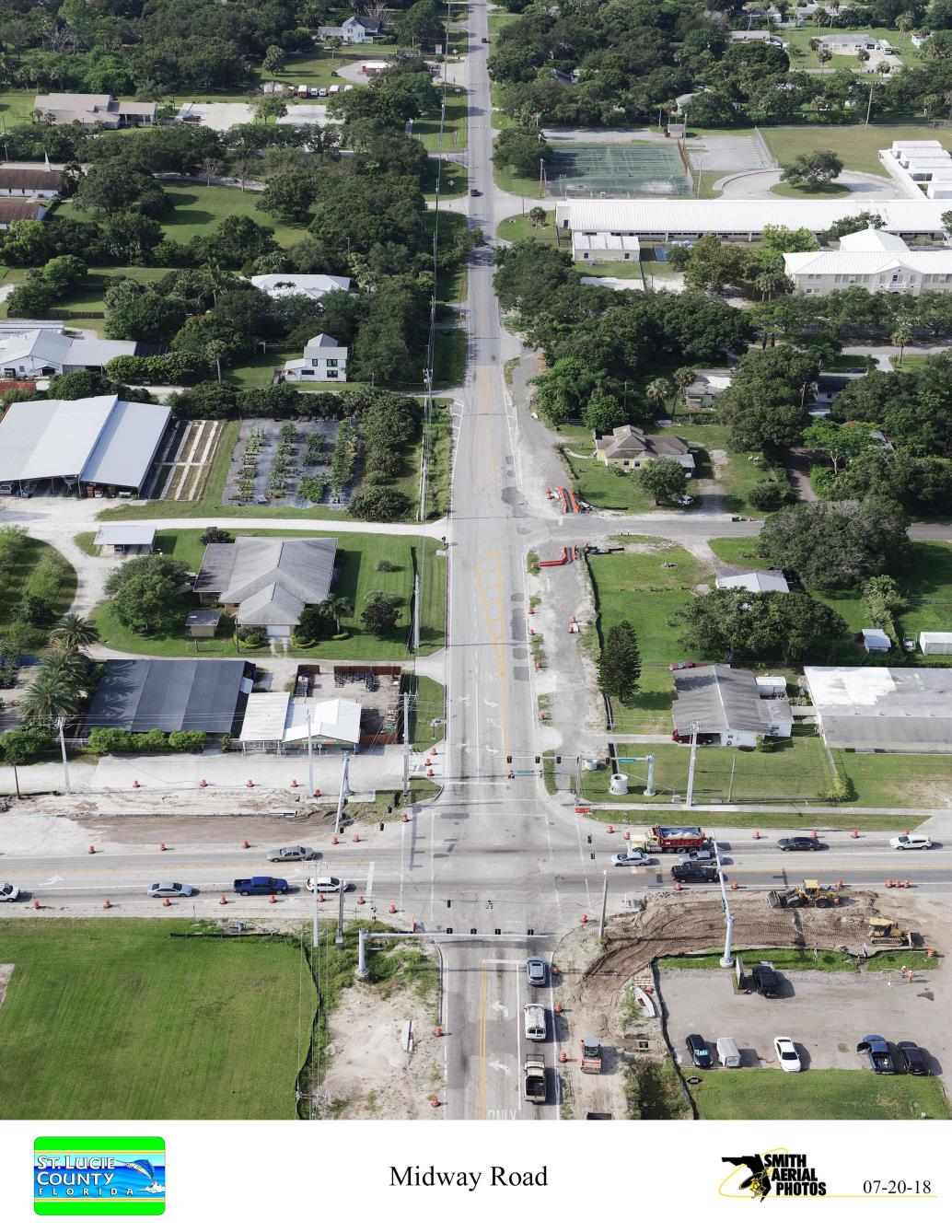 Intersection of Oleander Ave and Midway Rd from North