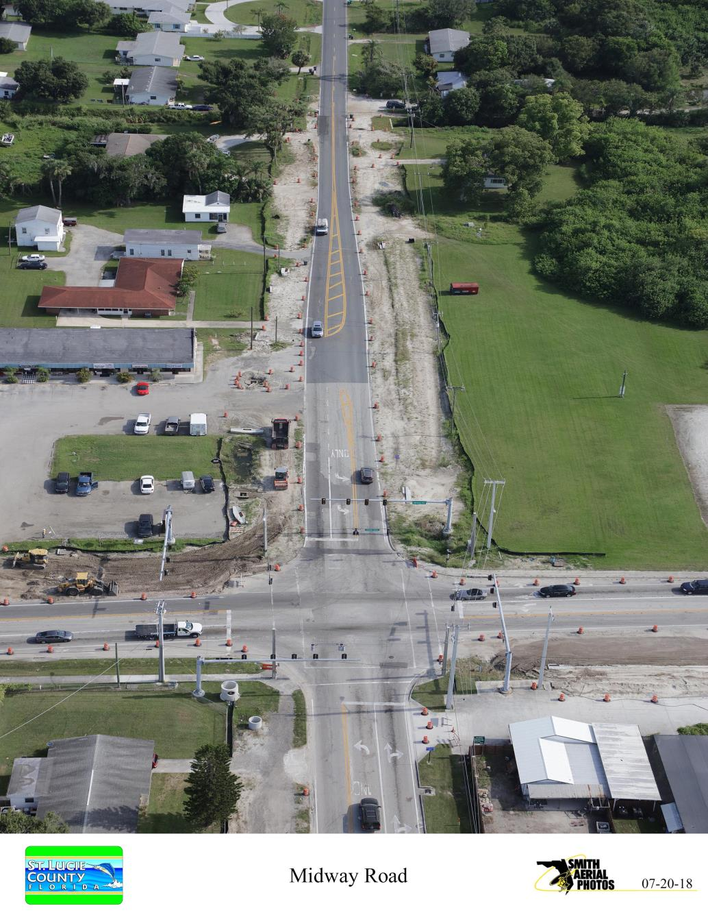 Intersection of Oleander Ave and Midway Rd from South