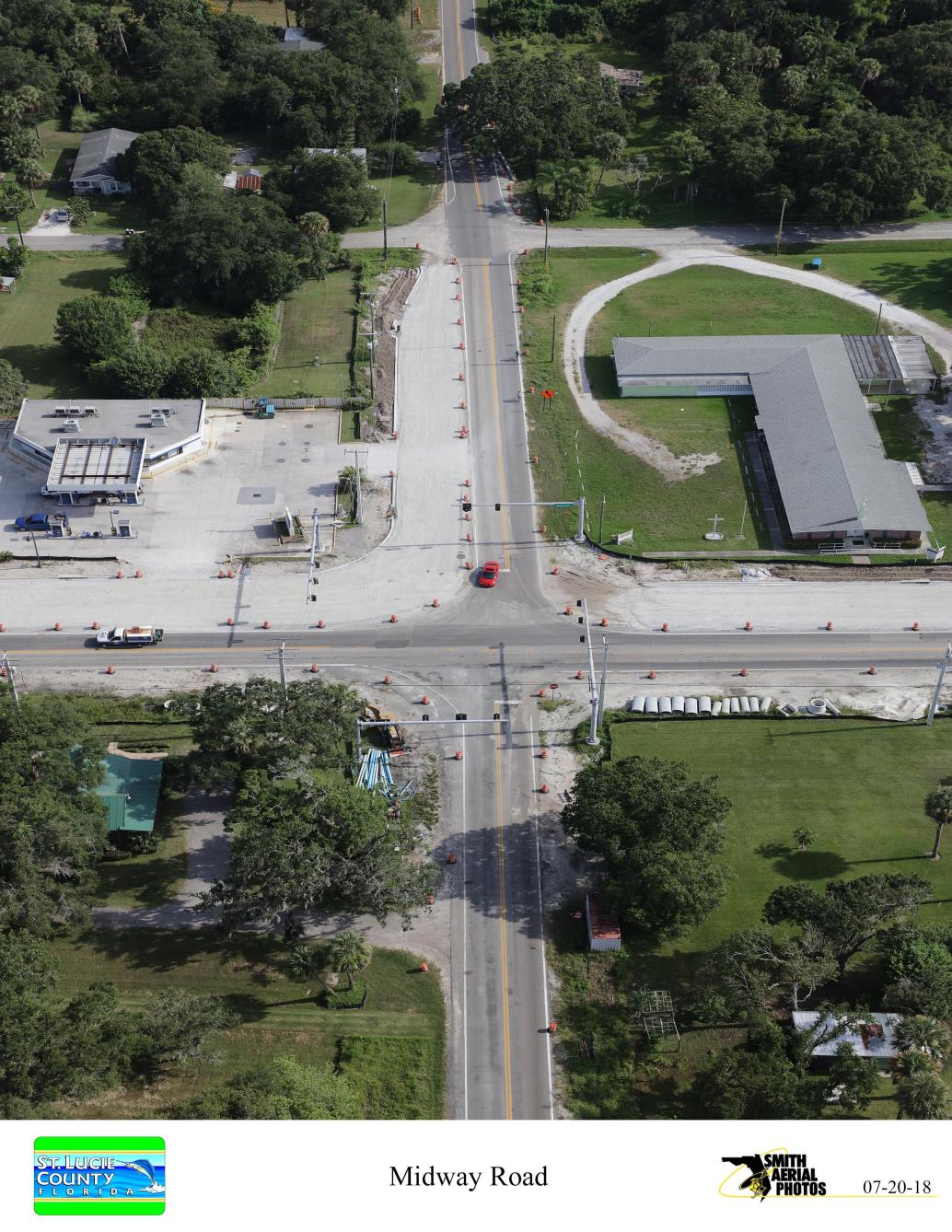Intersection of Sunrise Blvd and Midway Rd from South