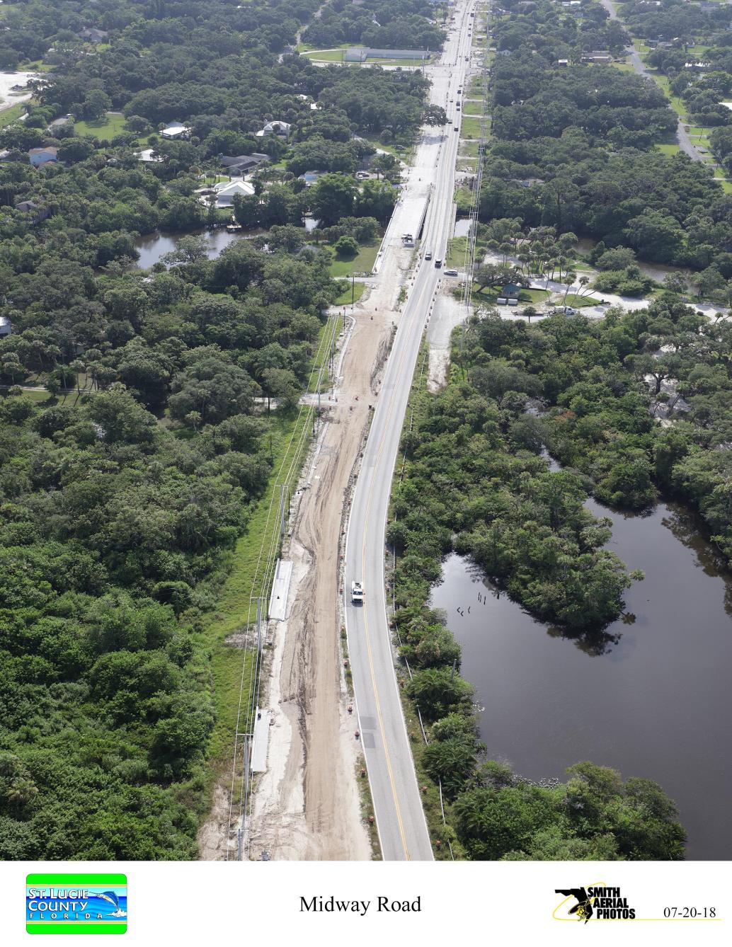 Midway Rd looking East toward St. Lucie River