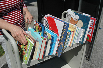 Library Books on Cart