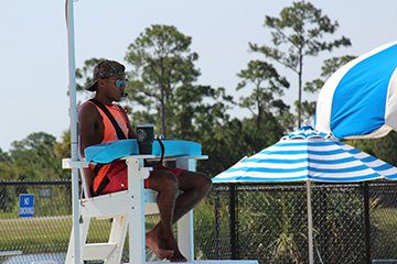 Lifeguard on duty at Lakewood Park Pool
