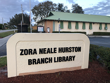 Zora Neale Hurston Library entrance sign