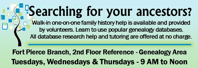 Genealogy Assistance at the Kilmer Branch Library Tuesdays, Wednesdays and Thursdays from 9 to noon